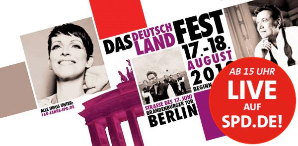 Zum Live-Stream vom Deutschlandfest der SPD | Externer Link, öffnet neues Fenster oder neuen Tab